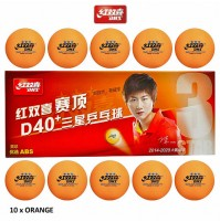 DHS ABS Cell Free Dual Table Tennis Balls D40+ Three Star Orange x 10