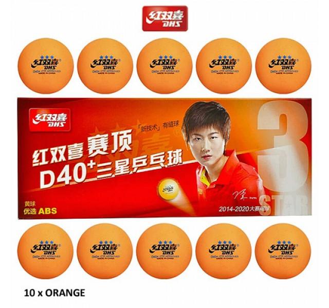 DHS ABS Cell Free Dual Table Tennis Balls D40+ Three Star Orange x 10
