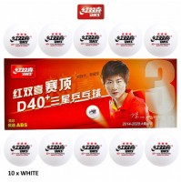DHS ABS Cell Free Dual Table Tennis Balls D40+ Three Star White x 10