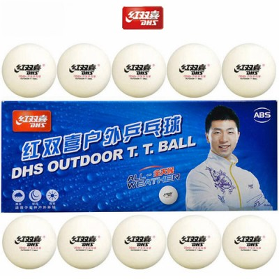 DHS Outdoor ABS Cell Free Table Tennis Balls D40+ White x 10