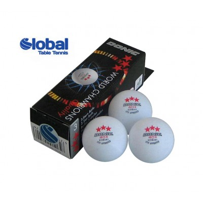 DONIC Table Tennis Balls Cell-free 40+ Three Star White x 3