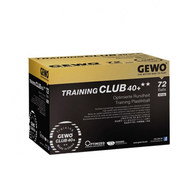 Gewo Club Training Table Tennis Balls 40+ Two Star White x 72