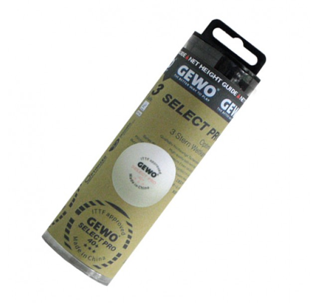 Glo-tube Gewo SELECT PRO Table Tennis Balls 40+ Three Star White x 3 Brand New