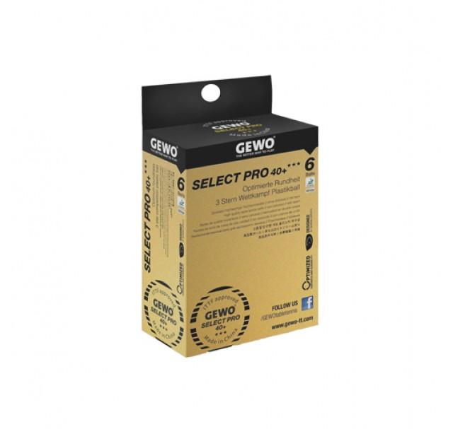 Gewo Select Pro Table Tennis Balls 40+ Three Star White x 6