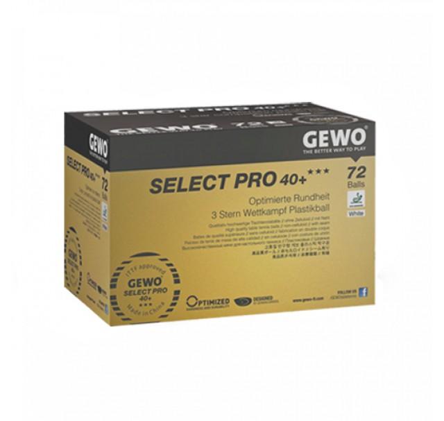 Gewo Select Pro Table Tennis Balls 40+ Three Star White x 72
